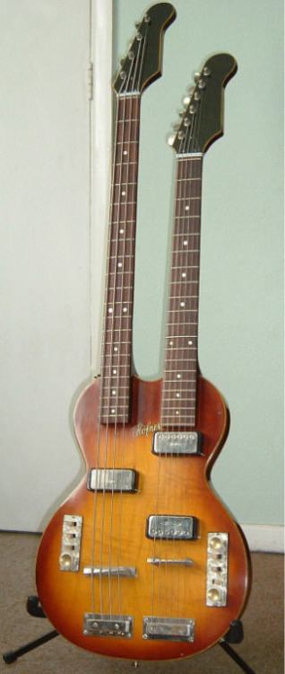 If you can't decide between bass and guitar, here is Vintage Hofner 191 double neck, early 60s.