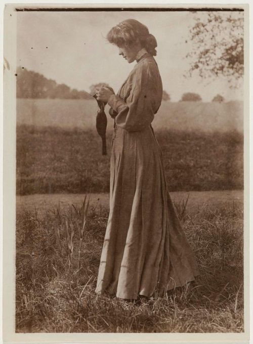 theshipthatflew:  Gertrude Käsebier (American, 1852–1934), Woman Knitting Sock Outdoors, albumen print