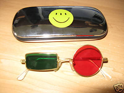 The iconic glasses. Pretty much only available by rare eBay auctions and custom order now. (photo is from lapsed auction)