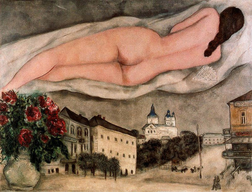 "proustitute:Marc Chagall, Nude over Vitebsk, 1933(source; image via arsvitaest; crashinglybeautiful; sealmaiden)""Our whole inner world is reality, perhaps even more real than the            apparent world. To call everything that seems to be illogical a fantasy            or a fairy tale is to admit that one does not understand nature.""— Chagall"