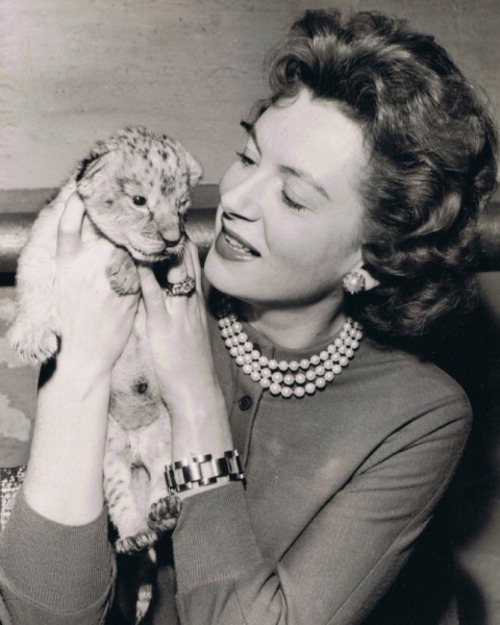 Deborah Kerr and a little friend
