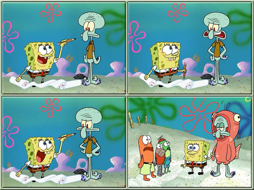 stripedsweater:  I'm gonna show my best friend Squidward to everyone in town wearing a salmon suit. You're gonna be wearing a salmon suit? Ahahaha, that's a good one, Squidward!