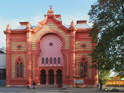 philharmonic hall, previously a synagogue, in uzhhorod, ukraine