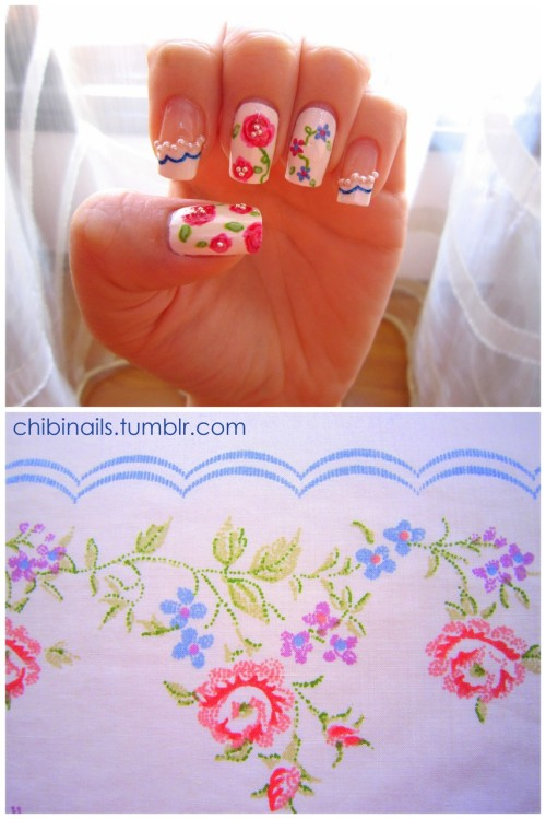 HayleyBee's fabric themed nails inspired me to do my own fabric inspired nails. My nail design is based on my bed sheet :D Expect more fabric inspired nails to come!