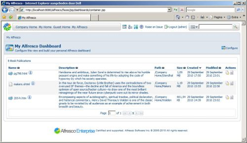 Today I created the project for the new Alfresco E-Book module in Alfresco Forge and added the code to source control. I need to do some more testing and still need to add internationalization. I also need to write some documentation, since there is quite some functionality. I also added an Alfresco Explorer dashlet (see photo) providing an overview of the content items that are publishable. In a future release I will add support for Alfresco Share. The custom action provides support for Adobe's EpubChecker tool. There is a check box in the metadata section of the dialog to turn validation on or off. The validation results are written to a log file in the same space as where the e-book is created.