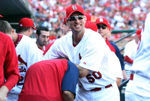 Adam Wainwright and Yadier Molina, September 29, 2010