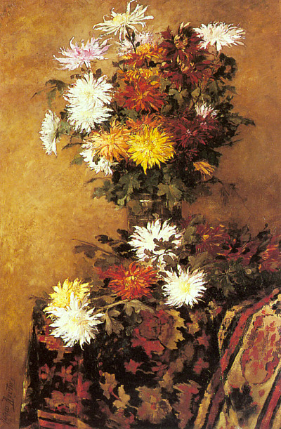 Alfred Ruytinx A Vase of Chrysanthemums Late 19th-early 20th century