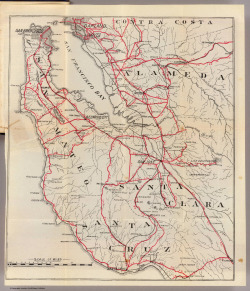"Map of the Bay Area from the 1906 Blum's ""Cycler's Road Guide."""