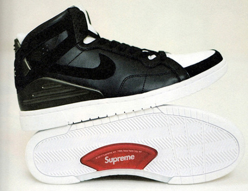 "Supreme x Nike SB 94   ""Our main thought was to create a newer version of shoes that New York  skaters would have appropriated before there were real skate shoes, and  combine that with other iconic basketball shoes from the time,"" says Luke Meier,  the lead designer on all Supreme SB collaborations. Foamposite material  on the heel sets this shoe apart, and lines that pay homage to the  classic Jordans give the silhouette a timeless feel, but the final  result is anything but derivative. The new Supreme shoe is truly a city  skate shoe: slimmed-up and clean enough to look presentable, but poppy  enough to rock in the street. Welcome back to NYC. Set to drop in November."
