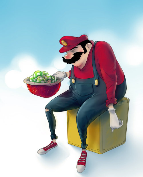 justintrr:  Fat'n Old Super Mario by VincentNH.