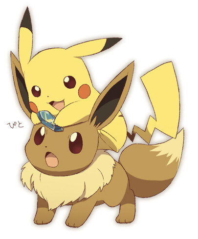 #025 Pikachu trying to make #133 Eevee evolve