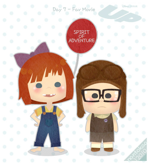 Day 7 - Fav Movie UP (2009) Young Ellie: You don't talk much. ……….. I like you!  ————my favorite pixar movie since last year :D