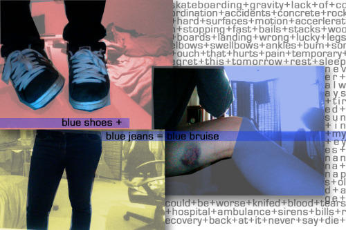 I usually skate in black jeans and black shoes. Yesterday I wore blue.