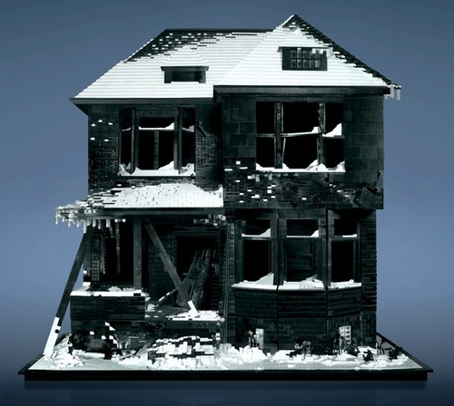 Burned House made of LEGO by Mike Doyle This is absolutely stunning. I'm not sure how he got all the subtle shades of black and white. This is pure LEGO, not those awful pre-packaged, based-on-something-from-a-movie kits they sell now, where you can only build what the box package shows you.