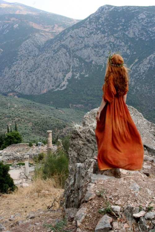 for-redheads:  Classical Grecian by *Chonastock Greek dress photographed in Delphi and Mieza (Greece)