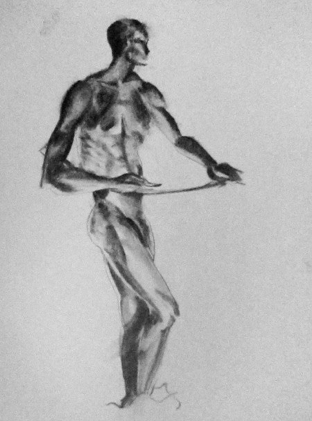 Anatomical Life Drawing III 15 min figure study 18 x 24, Charcoal