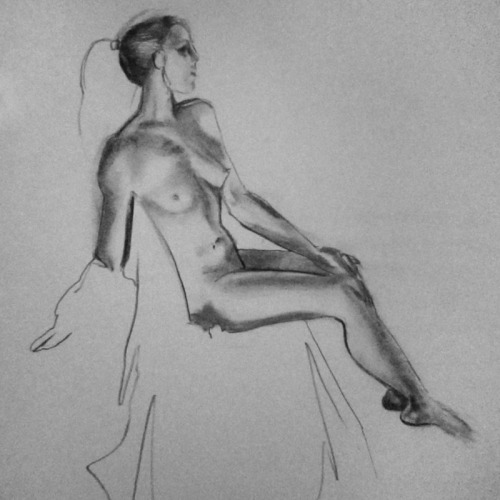 Anatomical Life Drawing III 15 min figure study Charcoal