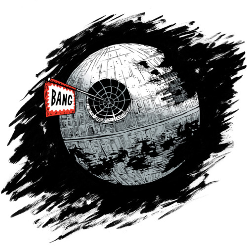 The Death Star caused a silly disturbance in the Force. Another Star Wars illustration I did last year. Reblogged from justinrampage:  If the Rebels would have given the Empire a few more minutes to release their big joke, the galaxy could have been a friendlier place. Death Startled by Burt Durand (Flickr) (Twitter) Via: pacalin