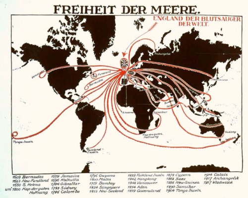 "Another vampiric octopus. Poster circa 1917.  ""Freiheit Der Meere"" (Freedom of the Seas), Subtitled: England Der Blutsauger Derwelt (England, The Bloodsucker of the World) (Morrow, 2005) Image Source: Hoover Institute Political Poster Database (accessed 2nd Oct 2010) Morrow, J.H., ""The Great War: An Imperial History"", Routledge, 2005 p.176"