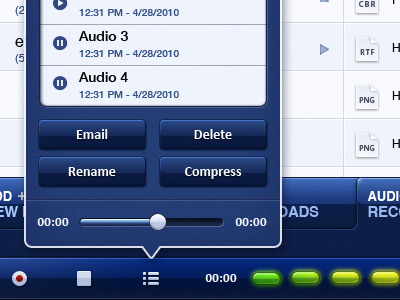 Audio Recorder UI via @dribbble by @TheSkinsFactory. My pressibility alarm just blew a fuse…