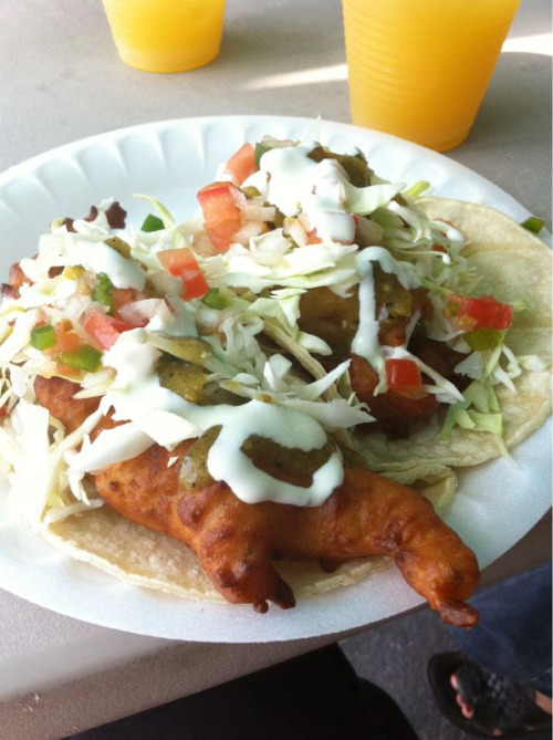 One fish and one fish-and-shrimp combo tacos.  Ricky's Fish Tacos in Los Feliz, CA.