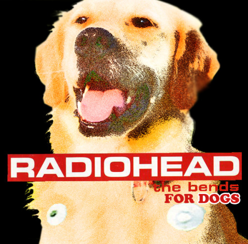 "Radiohead for Dogs. (The Bends) by. OJ Patterson  Story: On the cusp of an improv show in Brentwood, Sylvan Productions (+Misha, Sammy Franco, Travis and I) ate hot dogs and developed a set list for the night. I didn't have much to contribute on the planning stages, I'm an improv infant, I just like to perform. On the side lines I start humming Radiohead's ""Reckoner"" and for whatever reason, it sounded like a dog howling. Rocky McGredy (of Sylvan) picked up on what I was doing and helped me finish the melody. We giggled hard for a full minute and extrapolated the concept to ""Radiohead for Dogs""."