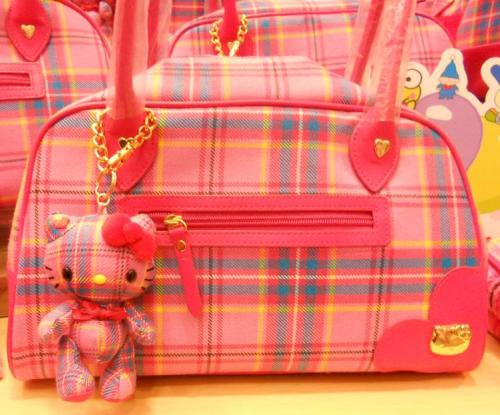 Hello Kitty Tartan Bag w/matching Keychain/Charm