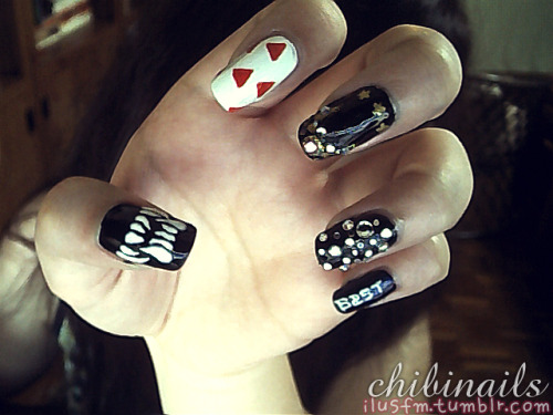 Webcam preview of my B2ST inspired nails :D Guess whose outfit referrences I used? ㅋㅋWill upload a better photo of this soomsoon-ish.