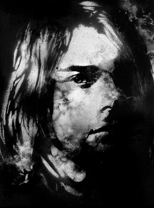 Kurt Cobain Stencil Graffiti by Colasa