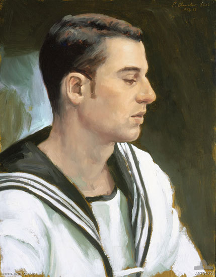 Sailor Fraser, HMAS Kanimbla (2002). Peter Churcher. oil on board 45 x 35 cm