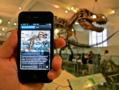 Many museums are exploring how they might use smartphones to deliver information to visitors and to learn more about visitor practices.  As New York Times critic Edward Rothstein writes in a recent article, museum apps are works in process and, in the future, may provide visitors with substantial content both at the museum and after a museum visit.   Because curators' and museum educators' goals and interests are often different, one challenge museums face is deciding what information is presented to visitors about works on display.  Visitors may well be seeking information that does not neatly fit onto a label or in the space of a didactic panel.   I am interested in provenance and histories of collecting.  Using a museum's app, could I build a tour of works a family gave to the museum?  Works that passed through a particular gallery or dealer?  Works acquired in a certain year?  Without an app on my phone, these tours would be possible only with advanced research (provided, of course, the information for that research is available on the museum's website).  Apps have a long way to go before I could build such a tour.  But two other things need to happen first:  1) museums need to pull out that information from their paper archives and make it public, and 2) I need to buy a new phone. MAGE SOURCE:  http://gizmodo.com/5599789/american-museum-of-natural-history-explorer-app-makes-paper-museum-maps-ancient-history