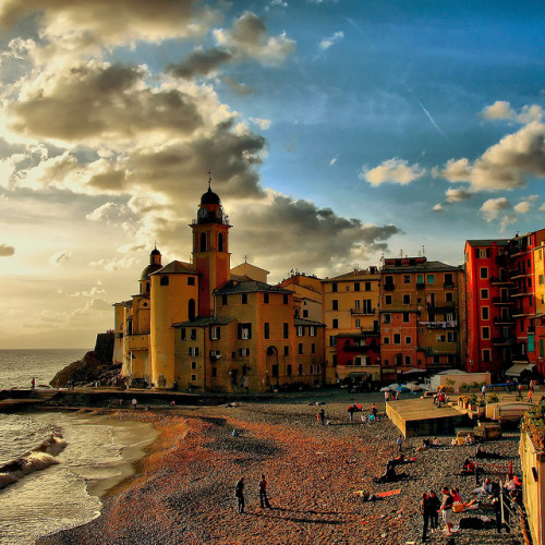 Gotta be there ysvoice:  | ♕ |  Camogli at sunset, Cinque Terre, Italy  | by © klausthebest   via theworldwelivein | iloveeurope