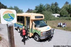 Marin County Transit's 'Stagecoach' is a fantastic, reliable, frequent service for exploring the beautiful countryside, forests, and coastal towns of West Marin.  If you're in the Bay Area, you can use it to reach Stinson Beach, Point Reyes Station, Bolinas, Inverness and points in between like Sam Taylor State Park.  Connections to it from the city originate at the Sausalito Ferry terminal, Marin City transit center (where express buses from SF can take you), and the San Rafael Transit Center (also SF buses, and GG transit #s 40-42 from the East Bay).  The Stagecoach belies arguments that transit only works in areas with very high population densities.
