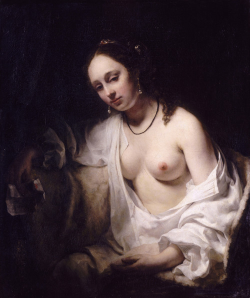 "Bathsheba by Willem Drost, 1654 Willem Drost is a mysterious figure, closely associated with Rembrandt van Rijn, with very few paintings clearly attributable to him. At the age of 17, he became a student of Rembrandt. At the age of 21, he painted ""Bathsheba,"" which now hangs in the Louvre, where his tutor's painting of the same title also resides. He was 25 when he died in the city of Venice. Drost is considered one of Rembrandt's most talented disciples, so much so that his 1654 painting titled: Portrait of a Young Woman with her Hands Folded on a Book was attributed to Rembrandt for more than 300 years. In fact, Rembrandt is credited with over 2,000 paintings and etchings, and the authenticity of his paintings is so important that the Rembrandt Research Project was formed in Amsterdam to review the attribution of all his works. They have now reattributed a number of Rembrandt's paintings to his pupils and associates, such as Drost. Oil on canvas, the Louvre."