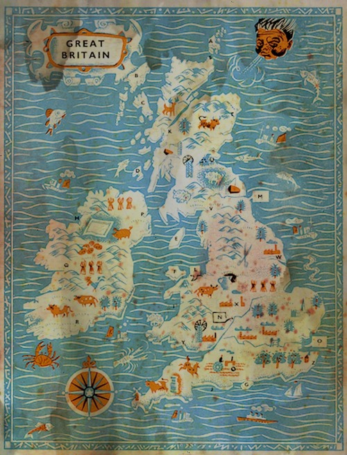 oncewasengland: Map of the British Isles by Stanley Smith (1956)