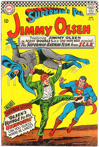 This might be the best Jimmy Olsen cover I've seen in some time. Superman's Pal Jimmy Olsen #92, ladies and gents! —Julie Ogden [via JimmyOlsenComics]