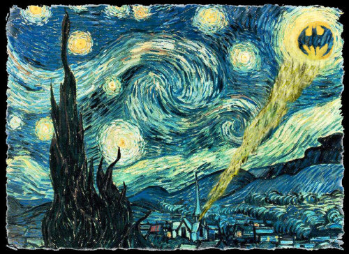 i-like-smoothies:  unmundolibre:  Gotham Starry Night (~1funnyguy en deviantART). Cuando Van Gogh descubrió a Batman  hahaha  Everything is better with Batman.