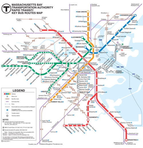 MBTA - Boston Subway Network Map