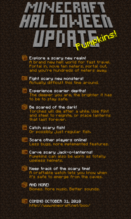 Boo! Coming October 31!. New Minecraft update. Here's the list of stuff coming.