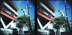 These are my digitalised images taken with two holga's rigged together. As with the Holga esthetic the timing is never exact for fast moving images such as the one obove however I beleieve this adds the effect. Things I took into consideration in taking the images was: - large range of depths, such as near and far objects. - overlaping objects - moving objects. - other than that I emersided myself into lomo culture and snapped whatever I came across.