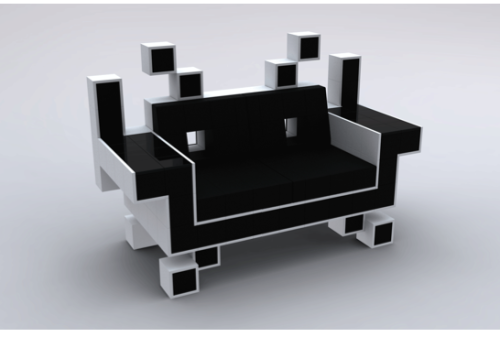 1. Space Invaders Couch (via mental_floss Blog » 10 Ways to Game Up Your Home