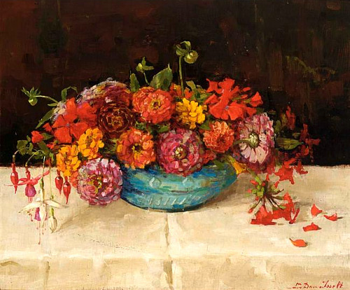 Lucie Van Dam Van Isselt Still Life with Dahlia and Fuchsia Early 20th century