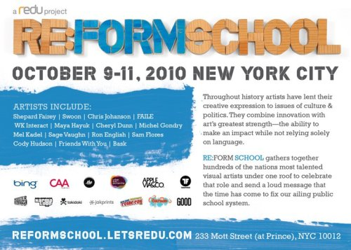 Come out this weekend to support @reformschoolnyc. @trustocorp @garybaseman, Shepard Fairey, Andrew Bannecker, & Tes One will all be there!