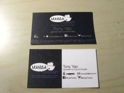 My business cards, which I will be handing out at this weekend's New York Comic-Con/New York Anime Festival. What do you think? Special thank-you to vivdesigns for the cards!