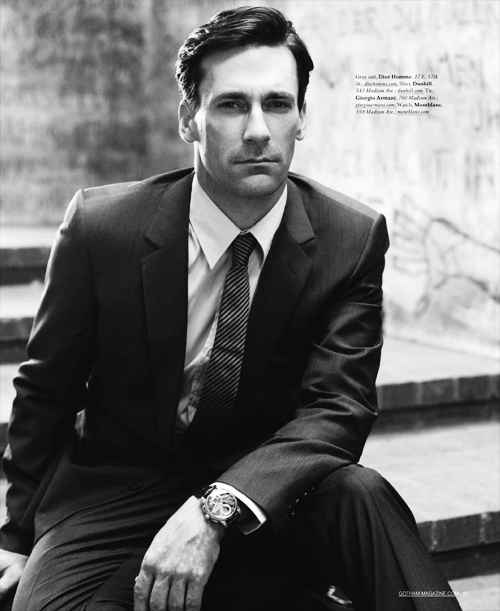 Suit porn that includes John Hamm is unspeakably dirty. The fact that there is such a surfeit of it is proof that there is a God in heaven. Gotham Magazine Oct 2010