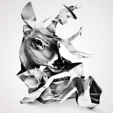 Christina Empedocles- Untitled (deer) wax pencil (!) on paper, 8x8 inches.