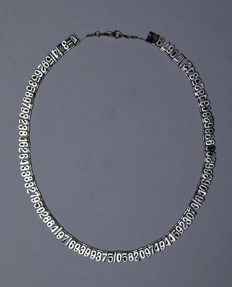 Pi Necklace (accurate to 100th decimal place).  Go ahead fellow geeks, drool!