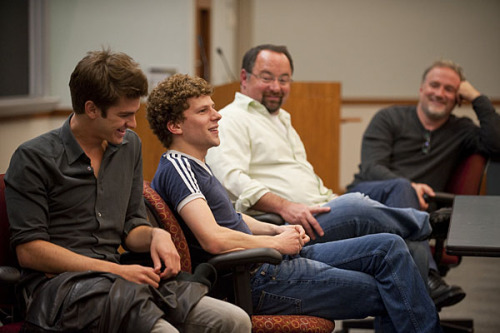Andrew Garfield, Jesse Eisenberg, DP Jeff Cronenbeth, and David Fincher The Social Network, directed by David Fincher  (Submit your filmmaking posts here)