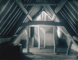 yama-bato:  In the Attics, Kelmscott Manor, 1896 Frederick H. Evans (British, 1853–1943) Platinum print; 6 1/8 x 7 7/8 in. (15.6 x 20 cm) The Metropolitan Museum of Art, New YorkNew York Kelmscott Manor was the country home of William Morris (1834–1896), poet, craftsman, designer, socialist reformer, and founder of the English Arts and Crafts movement. He and his wife Jane shared the house with the Pre-Raphaelite painter Dante Gabriel Rossetti from 1871 to 1874, and it remained a country retreat for Morris and the artists and intellectuals in his circle until his death. At Morris' request, the bookseller and photographer Evans visited the old gray manor on the banks of the Thames in order to photograph it. This rare album, one of only two known to exist, was assembled by the photographer and contains thirty-one platinum prints, each carefully mounted on colored papers. In this photograph, Evans infused the bare and rambling space of the attic with a sense of harmony and spirituality that would later characterize his photographs of England's great cathedrals.Source: F. H. Evans: Attic, Kelmscott Manor (68.519) | Heilbrunn Timeline of Art History | The Metropolitan Museum of Art
