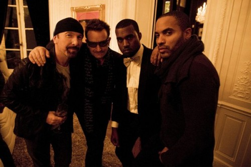 """Paris… The Edge, Bono, @kanyewest and I."" -Lenny Kravitz on Twitpic How did one photo contain all that ego?  Also I just realized Lenny Kravitz's first name is Lenny."